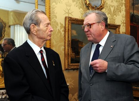 King Michael of Romania and the Sovereing of the Order of Malta January 2012