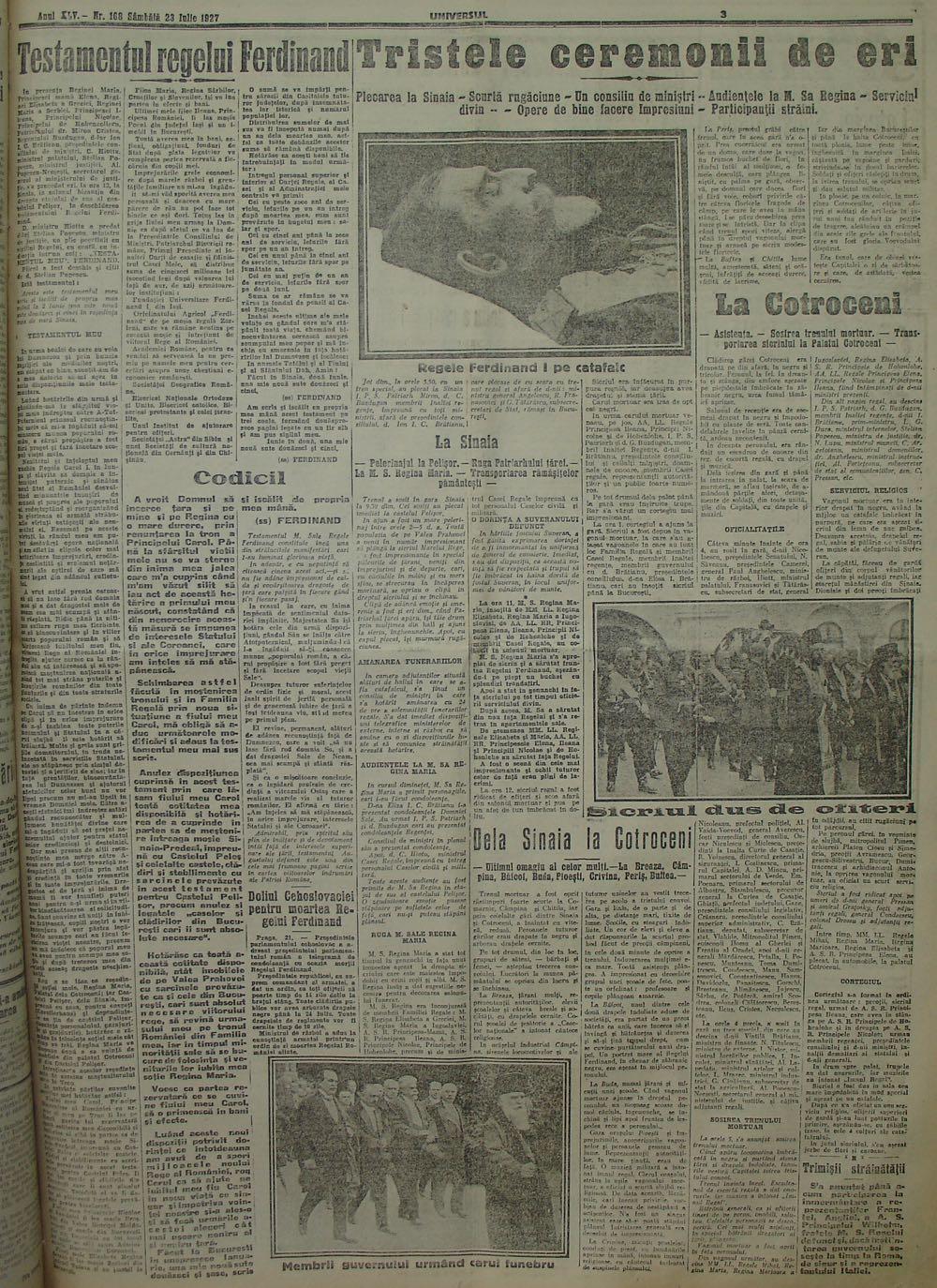 Funeraliile Regelui Ferdinand Întregitorul, acum 88 de ani
