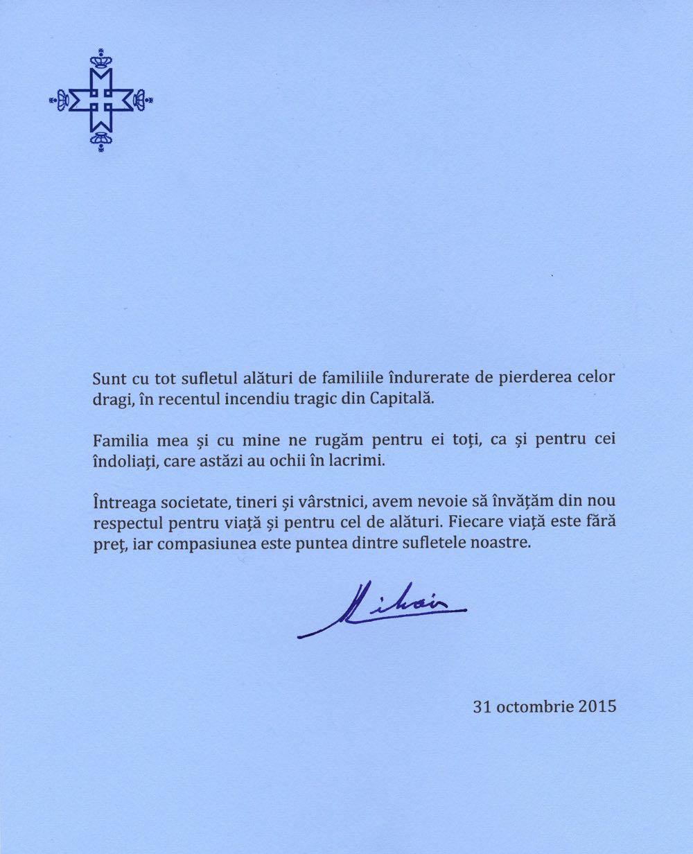 Mesajul Regelui Mihai, 31 octombrie 2015