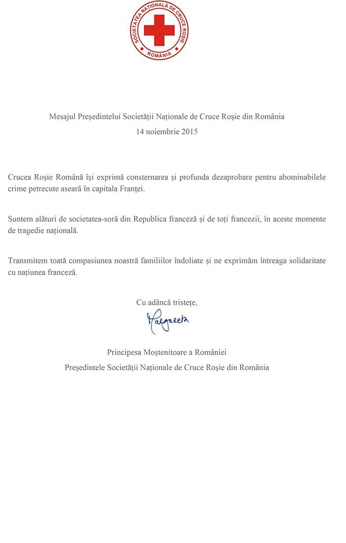 Mesajul Crucii Roșii România după evenimentele din Franța, 14 noiembrie 2015
