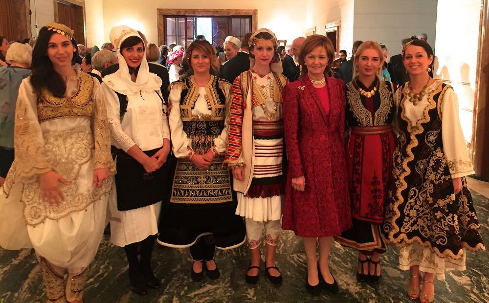 Principesa Mostenitoare Margareta la Tirana, alaturi de tinere albaneze purtand costume populare traditionale, 8 octombrie 2016