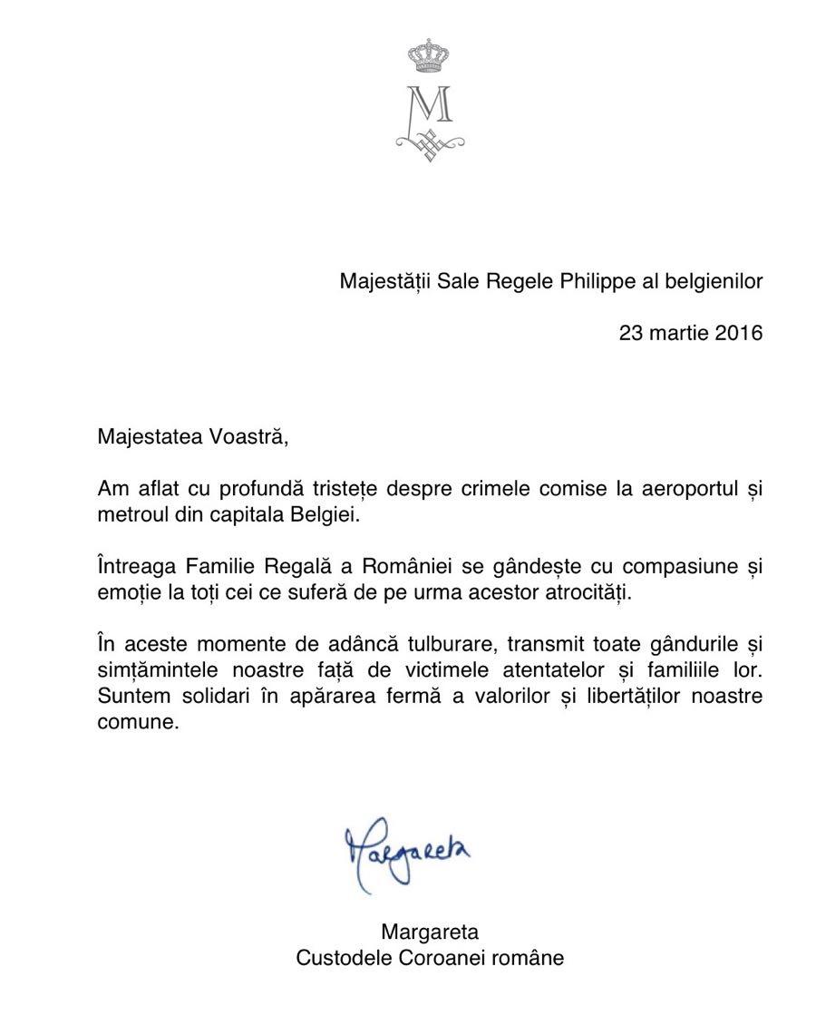 Mesajul Custodelui Coroanei catre Regele Belgiei 23martie2016