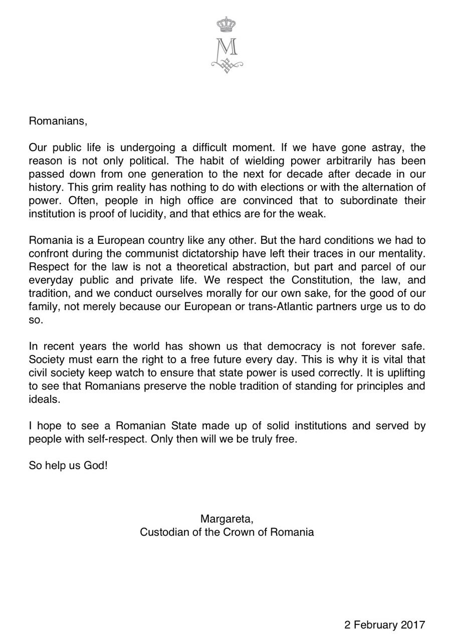 Message of the Custodian of the Crown of Romania 2 February 2017