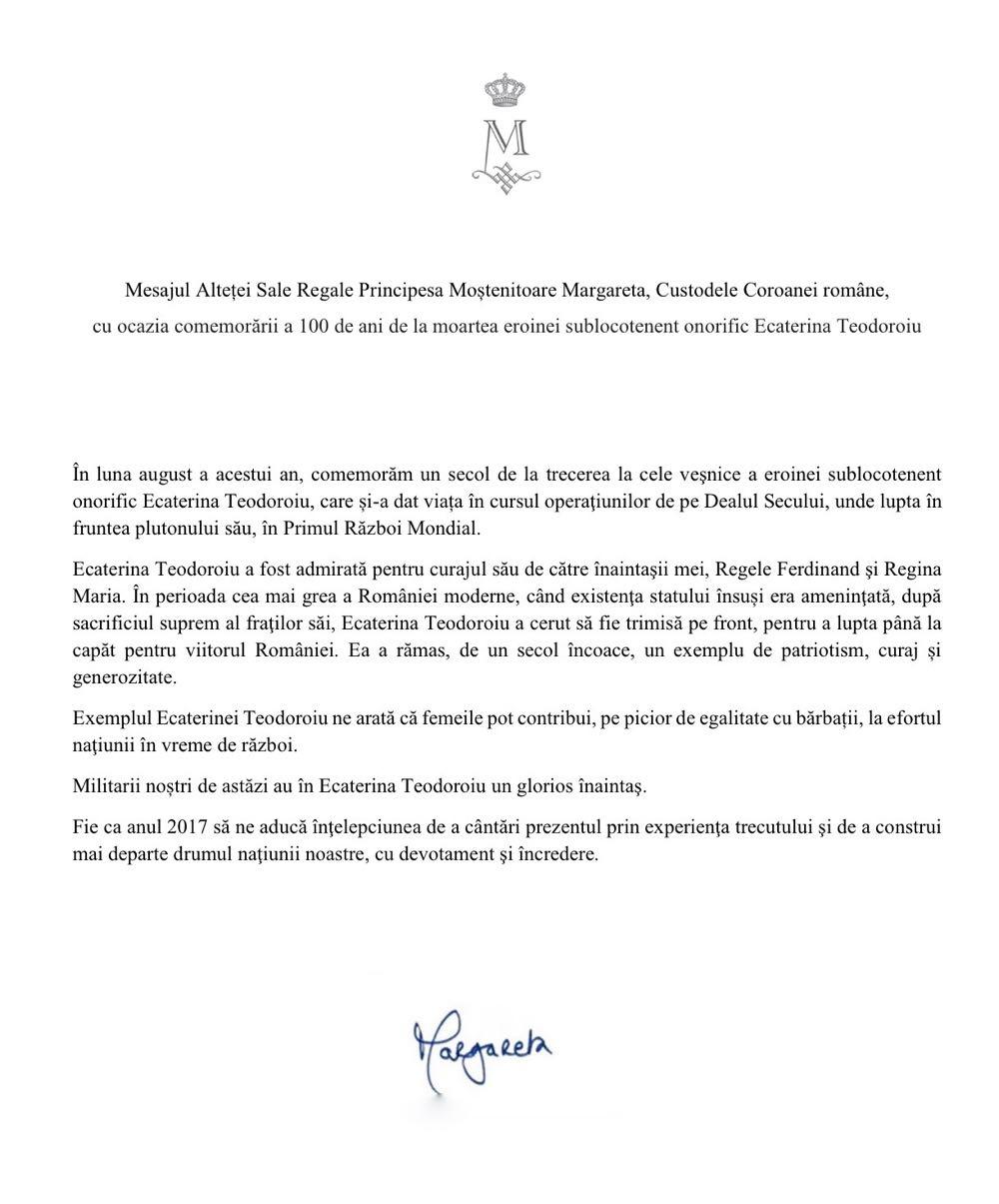 Mesaj ASR Principesa Mostenitoare a Romaniei - Mesaj la comemorarea MApN Ecaterina Teodoroiu 17martie2017