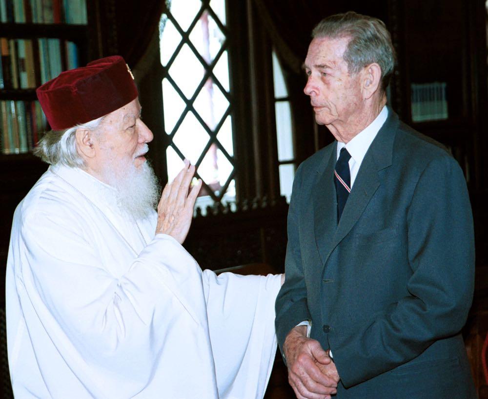 Intalnirea dintre Regele Mihai I si Patriarhul Teoctist, la Patriarhia Romana, 27 mai 2001. Foto ROMPRES/ Simion MECHNO