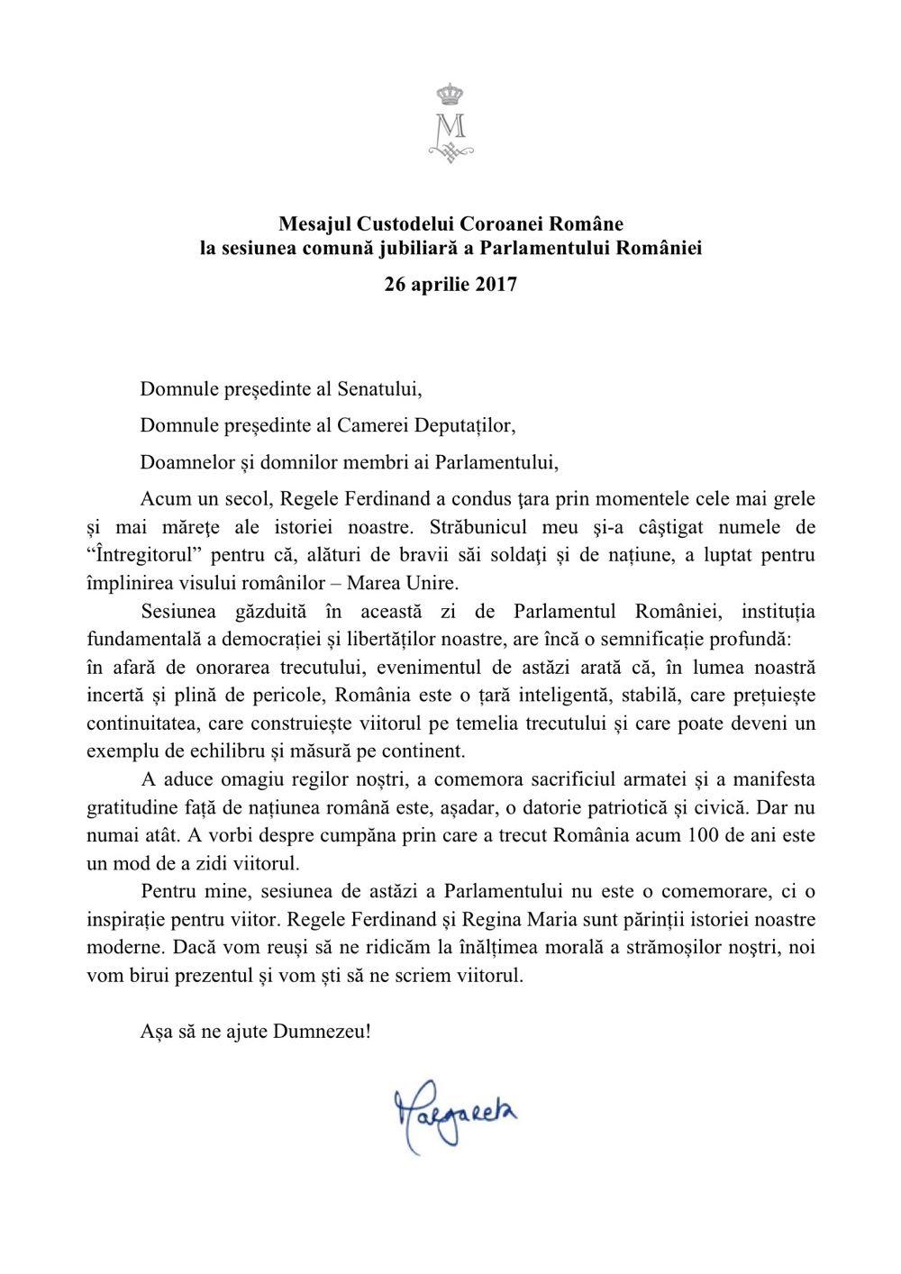 Mesajul Custodelui Coroanei la Parlamentul Romaniei 26 aprilie 2017