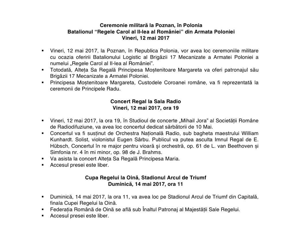 Programul sarbatorilor regale de 10 mai 2017